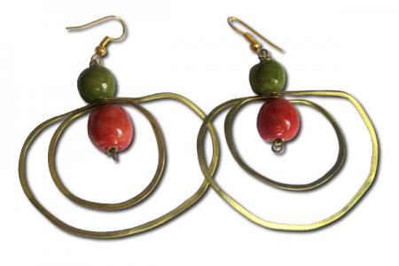 Brass and Bead Hoop Earrings
