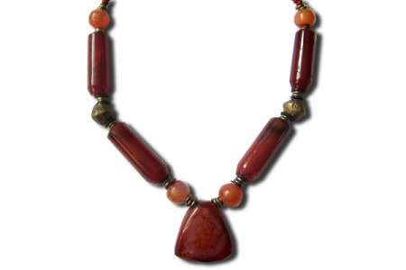 West African Stone and Bead Necklace